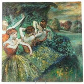 Signed Oil Painting after Degas: A signed oil painting after Dega. This oil on canvas depicts a group of ballerinas with a landscape background. It is signed in the lower right by the artist R. Rainy.