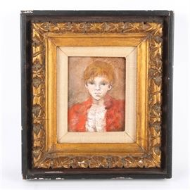 Original Oil on Board in Hand Carved Frame: An original oil on board painting. The original oil painting depicts a young boy wearing a red coat. The piece is signed by the artist to the lower right, however, the signature is illegible. The piece rests in a hand carved frame. The wide frame is black in color with heavy gilt ornamentation.