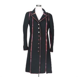 """Women's Fendi Coat: A women's Fendi coat. This felted black wool princess style coat closes with Fendi branded buttons down the front. It features pink patterned silk piping and matching interior pocket and sleeve lining. The fabric label reads, """"Fendi Made In Italy."""""""