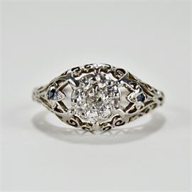 Edwardian Style Diamond Engagement Ring: An Edwardian style platinum and diamond engagement ring.