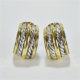 David Yurman 18K Gold and Sterling Cable Earrings: A pair of David Yurman 18K yellow gold and sterling cable huggie earrings.