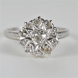 Edwardian Style Diamond Cocktail Ring: An Edwardian style diamond cocktail ring.
