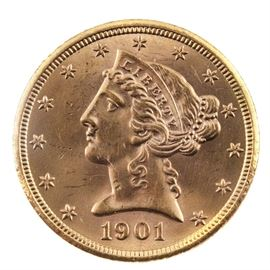1901 S Liberty Head $5 Gold Coin: A 1901 S Liberty Head $5 gold coin. Designer: Christian Gobrecht. Mintage: 3,648,000. Metal content: 90% gold, 10% copper. Diameter: 21.65 mm. Weight: 8.24 grams. Very good condition.