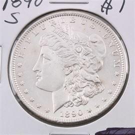 1890 S Silver Morgan Dollar: An 1890 S silver Morgan dollar. Designer: George T. Morgan. Mintage: 8,230,373. Metal content: 90% silver, 10% copper. Diameter: 38.1 mm. Weight: 26.7 grams. Very good condition.