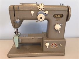 THIS SOLID, POWERFUL MACHINE WAS FIRST INTRODUCED IN THE 1950'S & WAS THE FIRST SEMI-INDUSTRIAL SEWING MACHINE FOR HOME USE. IT'S A POWERFUL STRAIGHT & ZIGZAG MACHINE THAT ALSO DOES 53 DIFFERENT STITCHES--THIS PFAFF 332 HAS SURVIVED THE TEST OF TIME.   ORIGINALLY DESIGNED AS AN UPGRADE FOR THE 230, THE 332 HAS A FREE ARM WITH A COLLAPSIBLE TABLE. IN ADDITION THE TENSION SYSTEM WAS REDESIGNED FOR EASIER USE AND RELIABILITY. THE MOTOR WAS CHANGED TO AN INTERNAL DESIGN, WITH A CLEATED BELT DRIVE, INSTEAD OF THE EXTERNAL RUBBER BELT DRIVE OF THE 230. THE NEEDLE THREADER WAS CHANGED SLIGHTLY, AND A CAPACITOR WAS ADDED TO THE MOTOR FOR LOAD HANDLING.   EXTREMELY HEAVY SEWING MACHINE.