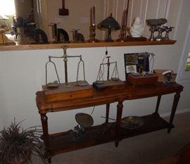 Antique scales..sofa table