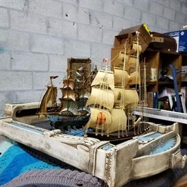 Vintage Large and small clipper ships