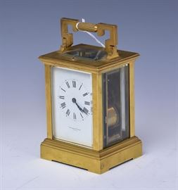 """French Repeater Carriage Clock retailed by Theodore Starr, NY hour repeater 5 1/2"""" high excluding the handle early 20th century"""