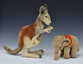 "Steiff Kangaroo and Elephant largest 12"" high mid-20th century"