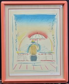 """Peter Max Man with Umbrella 25"""" x 19 1/2"""" (image) lithograph pencil signed lower right from an edition of 300"""