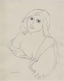 "Walt Kuhn Rhoda 14 3/4"" x 11 3/4"" (sight) lithograph pencil signed lower left"
