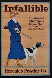 """Hercules Powder Company Advertising Posters Infallible, Smokeless Shot Gun Powder: Young Woman with Shot Gun/Hunting Dog, Ketterlinus, Philadelphia & NY and  Two Flying Geese, 1914,  Breuker & Kessler, Philadelphia each 30"""" x 20"""" color lithograph"""