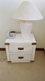 Wicker Night Stand - $20; White Lamp - $10