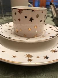 Galaxy by Sakura Dessert China w/14k Gold Accent - Twelve 3 piece place settings