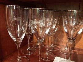 Kate Spade Crystal Champagne and Wine Glasses