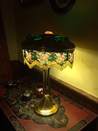 Art Nouveau Lamp with Glass Insets in the Shade