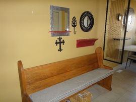 Oak Church pew, mirrors, decor