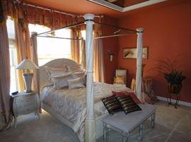 Bernhardt 4 poster bed, Queen. Matching dresser, armoire & nightstand.