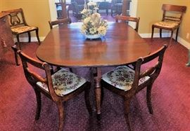 Antique dining table and 8 chairs