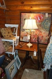 Yes, we are having to stack the furniture!  Side chairs, side table, art, Lenox lamp