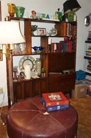 Nice mid century wall unit with desk.  LARGE leather ottoman, we have glass that will fit on top of it as well.