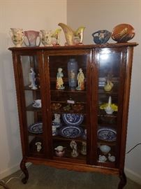 Antique curio/china cabinet, Blue Willow, Hull & Roseville Potteries, & more!
