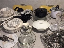 Assorted kitchen ware, including Dansk black casserole