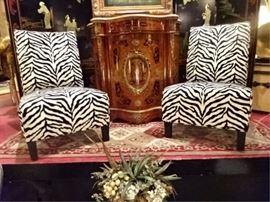 PAIR ZEBRA PRINT SLIPPER CHAIRS BY MACY'S HOME