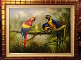 HUGE OIL PAINTING OF 3 PARROTS, OVER 4 FT WIDE