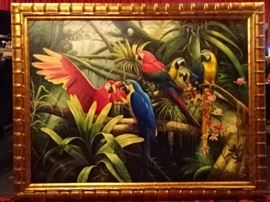 HUGE OIL PAINTING OF 6 PARROTS, OVER 4 FT WIDE