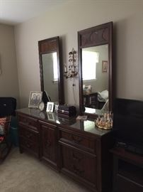 triple dresser with 2 mirrors