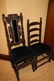 Two antique swede wooden accent chairs.