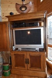 """Gorgeous wild life themed cabinet; Dick Lane  by Klaussner and 42"""" inch Panasonic Plasma TV (TH42PD5OU)"""