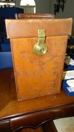 ENGLISH LEATHER CASE WITH TWO LARGE FLASKS