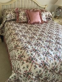 Beautiful Custom queensize bedspread, 5 pillow shams,  dust ruffle and drapes
