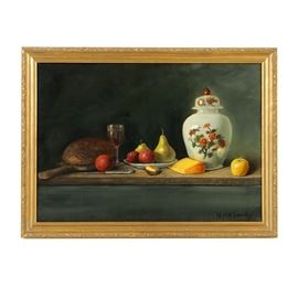 "Nancy Maloney Oil Painting on Canvas ""Repast"": An oil painting on canvas of a still life titled Repast, created by listed American artist Nancy Maloney (1943-2015). This realist still life features an arrangement of tableware and food items, including a loaf of bread on a cutting board, fruit, cheese, a glass of wine, a knife, and a lidded ceramic jar painted with a floral design. The items are set on a wood platter in front of a dark, bluish-gray background. The painting is signed in black to the lower right and presented in a gold-tone wood frame with a low-relief floral design. Maloney is known for her still lifes, often featuring food on dark backgrounds."