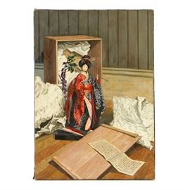 Oil Painting on Canvas of a Japonesque Still Life: An oil painting on canvas of a Japonesque still life. This painting depicts a porcelain Geisha doll holding a wisteria branch. The doll appears to have just removed from the box as packing paper is present to the floor. A letter written in an indiscernible script is present as well. This piece is signed illegibly to the lower left corner. Presented as a unframed canvas with a ribbon border.