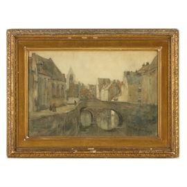 Anton Abraham van Anrooy Watercolor Painting on Paper European Cityscape: A watercolor painting on paper of a European cityscape by listed artist Anton Abraham van Anrooy (1870-1949). In dark and muted colors, the work depicts a river lined with stone buildings on either side. To the lower left corner is the artist's signature. Under glass, the item is presented in a gesso giltwood frame. Anrooy is known for his depictions of European landscapes.