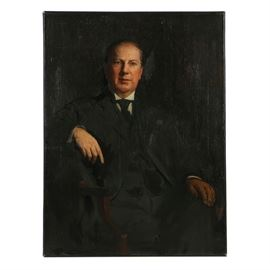 Late 19th-Century Oil Portrait on Canvas of a Man: A late 19th-century oil portrait on canvas of a man. Depicted in three-quarter length portrait, the man sits in a wooden chair. He sits in a dark interior, wearing a three-piece suit with a cravat and glasses. Unsigned by the artist. Presented without a frame.