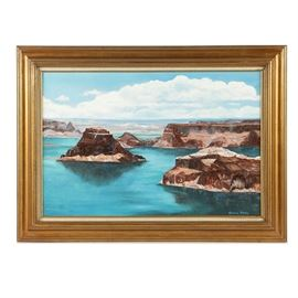 Gloria Pilko Macagnone Oil Painting on Canvas of Lake Powell: An oil painting on canvas of Lake Powell, created in 1975 by American artist Gloria Pilko Macagnone. This painting features a view of the famous reservoir flooding the canyons bordering Utah and Arizona on the Colorado River. With thick impasto, the artist captures the rough texture of the large rock formations emerging from the vibrant blue water and receding into the distance. The painting is signed in blue to the lower right; it is also signed and dated to the verso. A couple stamps from Bethlehem Art Gallery are also present to the verso. The painting is presented in a gold-tone wood frame with a linen liner and gold-tone fillet.
