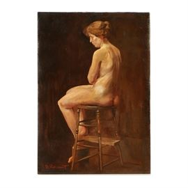 Henry Boller Pancoast Oil Painting on Canvas of Seated Nude Woman: An oil painting on stretched canvas of a seated nude female figure by listed American artist Henry Boller Pancoast (1876-1962). This work features a nude woman seated on a wood stool, set in front of a vague brown background. She turns her body to the left, revealing a profile view of her face. The painting is signed in red to the lower left and remains unframed.  Pancoast is an Impressionist style American painter who spent much of his career working in Philadelphia, PA. He graduated from both the Pennsylvania Academy of Fine Arts and the Drexel Institute. Pancoast would later join the Philadelphia Art Club and be exhibited regularly at the Pennsylvania Academy. He was most well-known for his landscapes and coastal genre scenes.