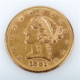 1881 Coronet Head Gold $5 Half Eagle Coin: An 1881 Coronet Head Gold $5 Half Eagle. This coin features a mintage of 5,708,802 and was minted in Philadelphia. The designer was Christian Gobrecht and the coin features a metal composition of 90% gold and 10% copper. The diameter is 21.6 mm with a weight of 8.36 grams.