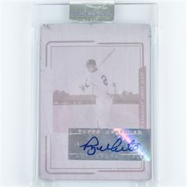Encased Authenticated Roy White Autograph on Magenta Printing Plate: An authenticated 2005 Topps Yankees Roy White signature on magenta printing plate. This plate was used to manufacture Roy White baseball cards. It is presented in a sealed plastic case.