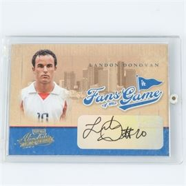 """Encased Fans of the Game Authenticated MLS Landon Donovan Autograph: An authenticated Major League Soccer player Landon Donovan Fans of the Game trading card with autograph. The card is labeled """"Playoff Absolute Memorabilia 2004"""" and promotes Donovan as a fan of the LA Dodgers. It is presented in sealed plastic case."""