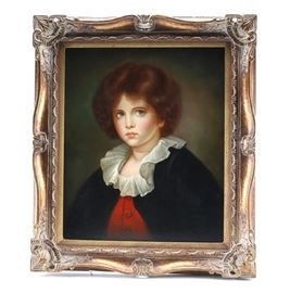 Eagleson Oil Portrait of Young Boy: An original oil painting on canvas by Eagleson. This work depicts a portrait of a young boy with blue eyes and rosy cheeks. The piece is signed to the lower left corner. It is presented in a gilt and gesso wood frame.