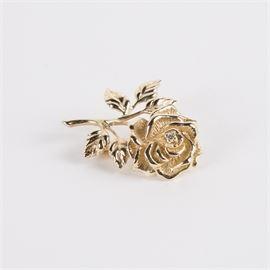 Tiffany & Co. 14K Gold and Diamond Rose Pin: A Tiffany & Co. 14K yellow gold and diamond rose pin.