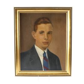 Original Oil Painting on Canvas Board: An original oil painting on canvas board. This work depicts a portrait of a young man in a blue suit and tie. The piece is monogrammed by the artist to the lower left corner. It is presented in a gold tone wood frame.