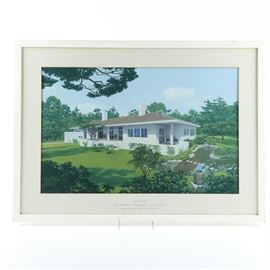 "Moore and Salisbury Gouache on Paper ""House for Mr. and Mrs. Francis B. Cooley"": An architectural gouache on paper by an anonymous artist. This is titled House for Mr. and Mrs Francis B. Cooley and was made for architects Moore and Salisbury. It depicts a white single level bungalow, in a Mod sixties style, with feature chimneys, and wrap around porch, with a heavily manicured garden around it. It is unsigned, but titled below in typeface on the white mat. This is presented behind glass in a white painted frame wired for hanging."