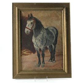 Framed Original Oil Painting of Gray Horse: An original oil painting on canvas of a gray horse. This painting depicts a gray and black horse wearing a red bridle and is standing in front of a brown background. The painting is mounted in a gold tone beveled wood frame. Several sketches in graphite are present to verso of the canvas. No signature is present to the painting.