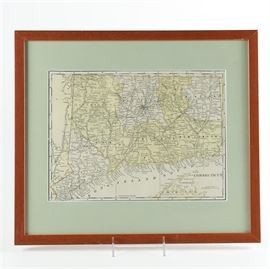 After George Franklin Cram Lithograph Map of Connecticut: A lithographic map on paper after a 1901 original by George Franklin Cram. This depicts the state of Connecticut with labeled and hand colored counties. This work is presented with a pale green mat, under glass in a cherry wood frame wired for hanging.